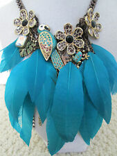 NWT Auth Betsey Johnson Jungle Fever Teal Feather Parrot Frog Statement Necklace