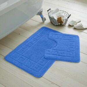 JACQUARD GREEK STYLE BATH MAT PEDESTAL SET NON SLIP TOILET BATHROOM RUGS 2 PIECE