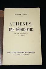 ATHENES UNE DEMOCRATIE SOLON PERICLES PERSE ROBERT COHEN EDITION ORIGINALE 1936