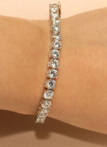 One Row Diamond Sterling Silver Base Tennis Bracelet 18k White Gold  5ct
