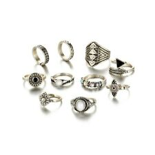 Fashion Women Boho Style Beach Jewelry Leaf Opal Stone Midi Knuckle Rings Set Silver
