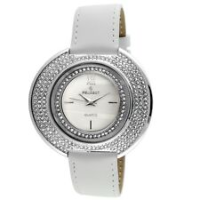 Peugeot Women's Crystal-Accented Watch with White Leather Band