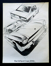 Vtg 1969 Fiat 124 sport coupe illustrated car advertisement print ad art