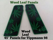 Tippman 98 Custom grip panels, Weed Leaf Panels left'right 45°. Bolts over grips