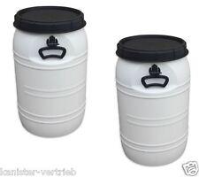 2 x 70 Liter wei�Ÿ Kunststofffass Deckelfass Drehdeckelfass Futtertonne NEUWARE!