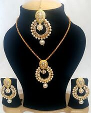 Tradition India Ethnic Golden stones and Gold Plated Necklace and Earrings set.
