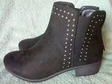 Ladies Lilley Black Faux Suede Slip On Low Heel Ankle Chelsea Boots Size 4 (37)