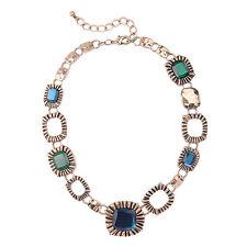 Collar Dorado Cadena Grueso Grabado Multicolor Azul Oscuro Verde Retro QT 2