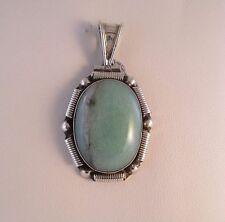 .950 Sterling Silver Very Pretty Light Green Agate Pendant - Mexico  #7462