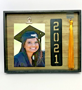 Graduation Class of 2021 Shadow Box Picture Frame with Hat Tassel Holder Black