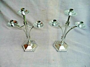 Antique Pair Large Art Deco Chromed Brass Candle Holders Sconce 3 Branch Project