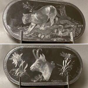 Vintage or Antique Silverplate Napkin Holder Etched Puma Mountain Lion Goat Alps