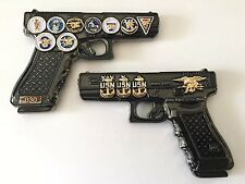USN NAVY SEALS TEAM GLOCK 19 GUN PISTOL CHALLENGE COIN CPO CHIEF NSW POLICE MESS