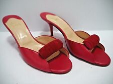 CHRISTIAN LOUBOUTIN red leather slide sandals mules Euro size 40.5