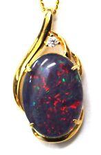 XMAS Special Gift Lightning Ridge Opal Pendant Cubic Zirconia Sterling Silver