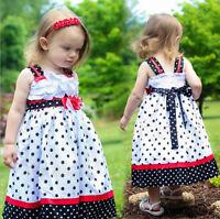 Cute Little Sailor Adorable  White & Blue  Girls Dots & Flower Full Length Dress