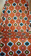 Mod Fleece Fabric Single 2 Yard Piece Orange No Sew Blanket Crafts Retro