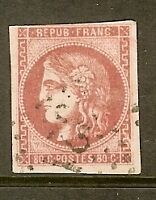 "FRANCE STAMP TIMBRE N° 49 "" CERES BORDEAUX 80c ROSE 1870 "" OBLITERE TB"