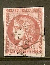 "FRANCE STAMP TIMBRE N° 49 "" CERES BORDEAUX 80c ROSE 1870 "" OBLITERE TB"