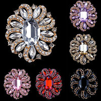 Women Gold Plated Rhinestone Crystal Party Bridal Flower Brooch Pin Cloth Access