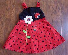 RARE EDITIONS Girls Dress Size 6X Red Black 100% Cotton Flower Ladybug