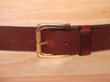 Brass Roller 38mm Wide Leather Belt Waist Size Mens Ladies Black Brown Tan Fit