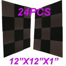 "24 Pack 12x12x1""BLACK/coffee Acoustic Wedge Studio Soundproofing Foam Wall Tiles"