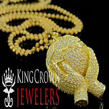 Yellow Gold Silver Hands Holding World Pendant Chain Set Mens Ladies Lab Diamond