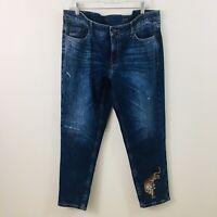 Cambio Jeans Denim Stretch Short Skinny Style Light Distress Tiger Patch 16 XL
