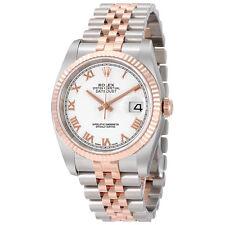 Rolex Datejust White Roman Dial Jubilee Bracelet Two Tone Mens Watch 116231WRJ