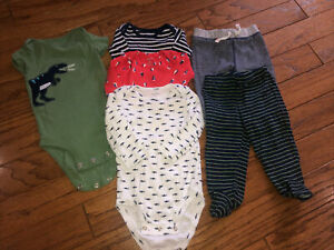 Carters Baby Boy 6 Months Lot - Pants And Bodysuits