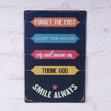 Vintage Metal Tin Signs Smile Always English Word Decor Bar Pub Poster Plaque
