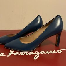 Salvatore Ferragamo Flora Blue leather Slip-on shoe 7C heel 7cm 0655447