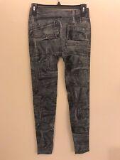 Women Faux Denim Slim Leggings Pants Pocket Pattern Black
