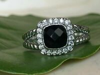 Designer Inspired Petite Albion Ring with Black Onyx & Diamond Ring