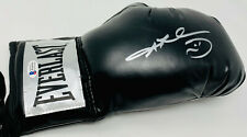 Sugar Ray Leonard Silver Signed Black Boxing Glove Beckett BAS Witnessed
