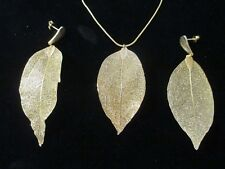 "LEAF Goldplated Pendant Necklace & Earrings w30"" Snake Chain & 2"" link extension"