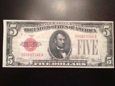 Reproduction $5 Bill 1928A United States Note Lincoln Copy Five Memorial Red