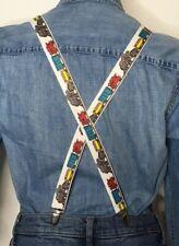 "Mens Train Suspenders Adjustable Adult White Colorful Choo Choo Clip On 1"" Wide"