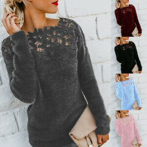 UK Women Lace Hollow Off Shoulder Jumper Pullover Casual Loose Tops Sweater Plus