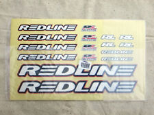 Old School BMX Bike Redline Decal Set, White Text With Blue and Red Outline, NIP