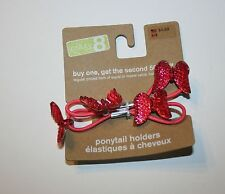 New Crazy 8 Sparkly Pink Butterfly Pony Holder Ponytail Hair Accessory NWT 2 pk