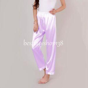 Women Anti-Static Pant Loose Satin Full Pettipant Slip Womens Pajama Sleep Pants