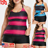 Plus Size Women Tankini Swimsuit Two Piece Sets Striped Gradual Push Up Swimwear