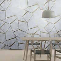 Triangle Geometric lines wallpaper white gray bronze metallic faux marble stone
