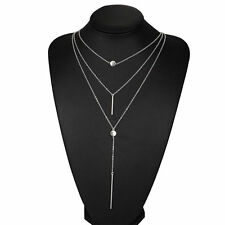 Fashion Women Jewelry Silver Crystal Multilayer Choker Pendant Necklace Chain