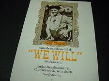 Gilbert O'Sullivan sings.new ballad I Will 1971 Promo Poster Ad mint condition