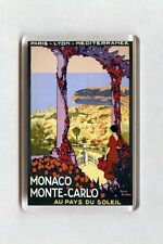 Vintage Travel Poster Fridge Magnet - Monaco. Monte Carlo. Au Pays Du Soleil