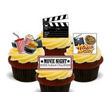 Movie Night Pack of 12 Edible Cup Cake Toppers, Fairy Bun Decorations. Film