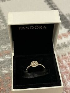 Genuine New Pandora 14ct Solid Gold Elegant Sparkle Ring Size 52 G585